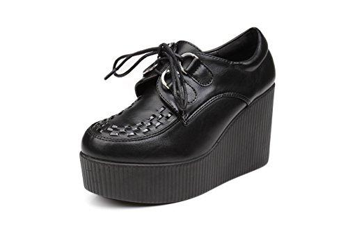 Anna&zero® Andrea Women's Punk Wedge Creepers Flats (US8.5=EUR39=UK6.0=CN39=24.5CM, Black PU)