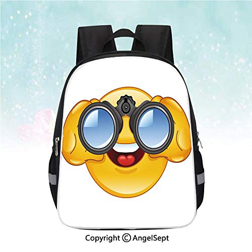 (Nylon Fabric Backpack,Smiley Face with a Telescope Binoculars Glasses Watching Outside Cartoon Print,13
