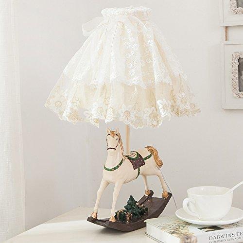 LGK&FA Cabecera y lámparas de mesa estilo europeo con puntilla dulce chica Caricatura habitación infantil dormitorio lámpara de mesilla28*53cm interruptor ...