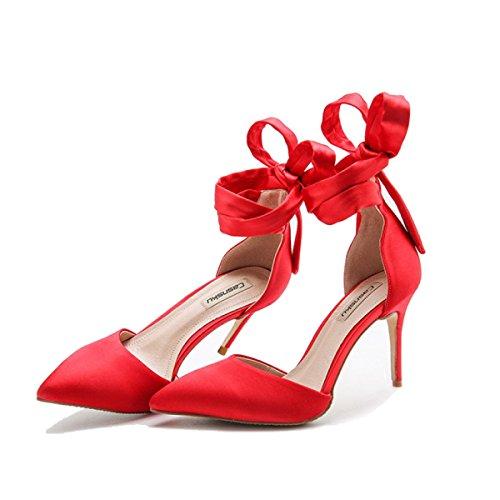 Womens Cross Straps High Heels Sommer Sandalen Party Hochzeit Pumps Damen Klassische Brautjungfer Schuhe Red8CM