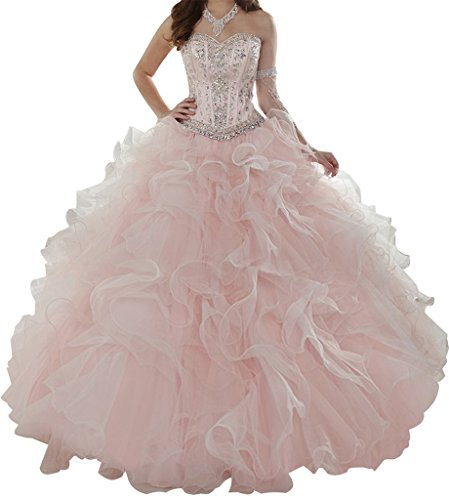 Quinceanera Gown New (Yang New Women 3 Pieces Removeable Skirt Ball Gowns Sweet Girls 16 Quinceanera Dresses Pink 4 US)