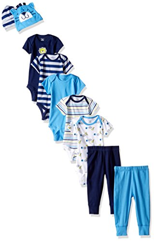 Gerber Baby Boys' 9-Piece Onesies Bodysuit, Pant and Cap Set, Safari, 0-3 Months