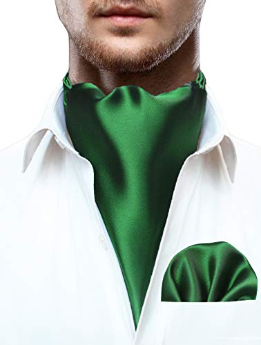 JEMYGINS Green Ascot for Men Green Cravat Tie and Pocket Square -