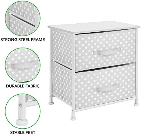 mDesign Chest of Drawers /— Childrens Bedroom Storage System with 2 Drawers and Flat Top /— Nursery Storage Unit with Polka Dot Design /— Pink//White