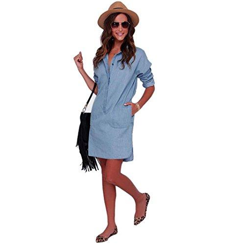 Kolylong Frau Lange Ärmel Cowboy Stil V-Ausschnitt Kleid