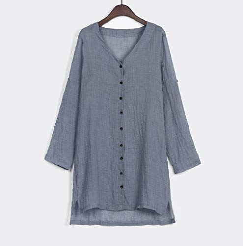 Jacket Sleeve Loose Cardigan Women Cotton Clearance Casual Autumn Button Solid Linen Retro Blouse Bohemian TUDUZ Blue Top Long Coat wZxP1Oq