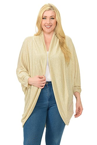 Pastel by Vivienne Women's Open Front Oversize Cardigan XXX-Large Oatmeal