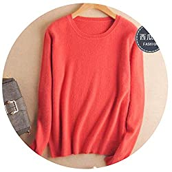 Autumn Winter Cashmere Cotton Blended Knitted Women Sweaters And Pullovers Jersey X Large Coralred