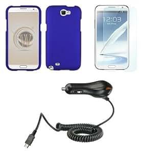 Cerhinu Samsung Galaxy Note II Premium Combo Pack - Blue Hard Shield Case + ATOM LED Keychain Light + Screen Protector...