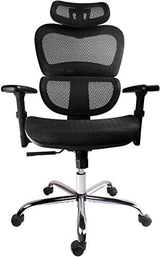 Smugdesk Mesh Adjustable Headrest Lumbar Support 3d Armrest Office Chair Dark Black