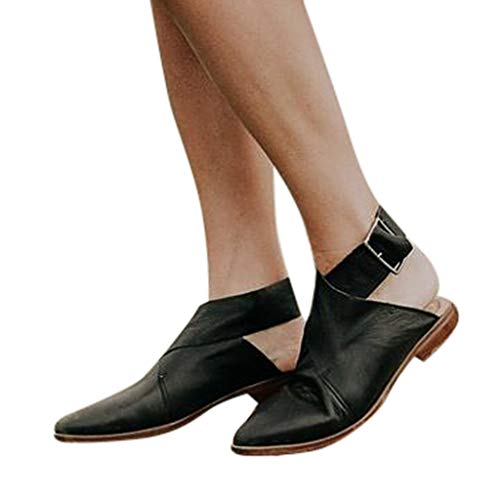 Shoes 001 (Hot!Ninasill Women Solid Color Retro Buckle Patent Leather Pointed Low Heel Roman Sandals Spring Single Shoes Fashion Sandals Black)
