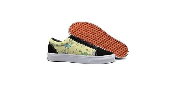 VCERTHDF Print Trendy Catoon Dinosaur Pattern Low Top Canvas Sneakers
