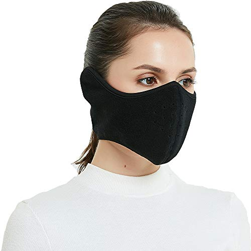 TTzone Winter Face Mask for Men Women Fleece Half Face Windproof Face Mask with Earflap for Outdoor Sport, Ear & Face Warmer for Running, Cycling, Motorcycling,Ski