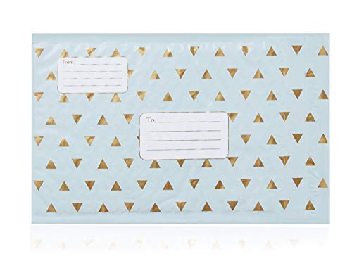 Cozymate Bubble Mailer with Address Lines, 6 x 10 inches, Light Blue and Metallic Gold, Pack of 25, 0