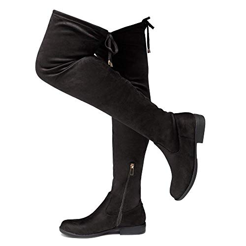 Herstyle Secret Obsession Women's Suede Thigh High Stretchy Boots- Block Heel Side Zipper Back Lace Over The Knee Casual Boots