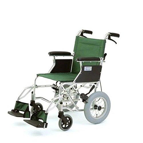 介助式折りたたみ車椅子 ミニポン/グリーン(緑) アルミ製 軽量コンパクトタイプ 【MIWA】 ミワ HTB-12 B07D1KRMDV