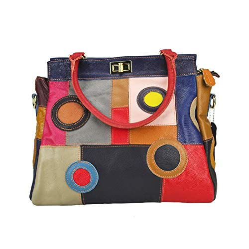 - Women's Multicolor Boston Bag Colorful Tote Leather Bag Unique Genuine Leather Handbag Designer Purse-Sibalasi(Circles)