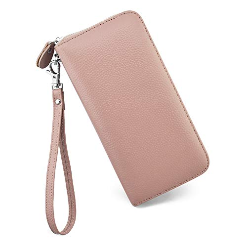Womens Wallet RFID Blocking Genuine Leather Zip Around Wallet Clutch Wristlet Travel Long Purse for Women
