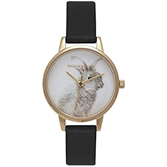 Olivia Burton Woodland OB15WL57 Gold Accented Bunny on White/Black Vegan Friendly Band Analog Quartz