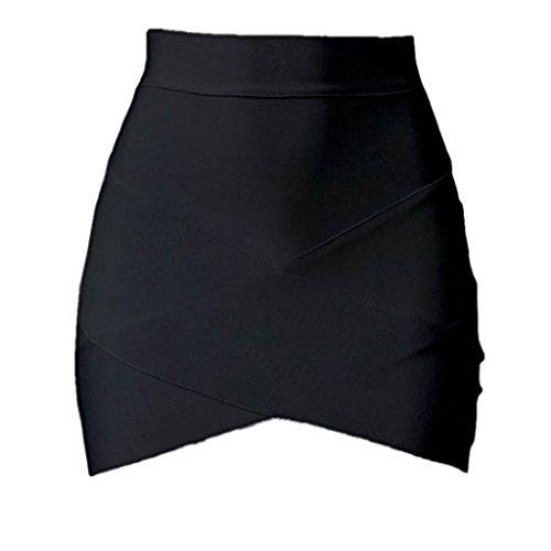 Amlaiworld Arbeiten Sie Weinlese Frauen Stretch-hohe Taillen Kurz Plain Skater Minirock Schwarz