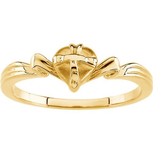Cross Heart 10k Yellow Gold Ring, Size 6 by The Men's Jewelry Store (for HER) (Image #2)