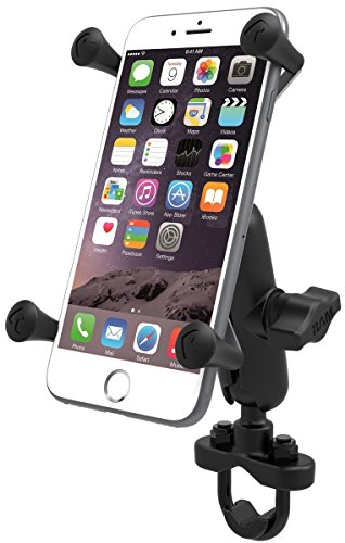 RAM MOUNTS (RAM-B-149Z-UN10U Handlebar Rail Mount with Zinc Coated U-Bolt Base and Universal X-Grip Iv Large Phone/Phablet Holder ()