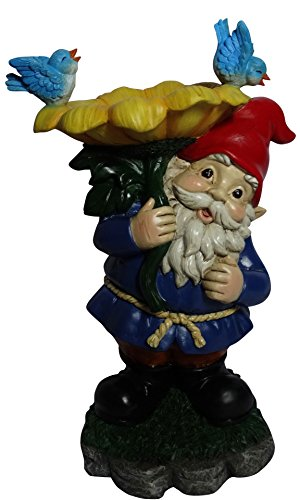 Alpine Corporation Gnome with Flower Birdbath Statue