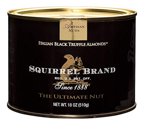 SQUIRREL BRAND Artisan Nuts, Italian Black Truffle Almonds, 18 oz Gift Tin (Almond Italian Truffles)