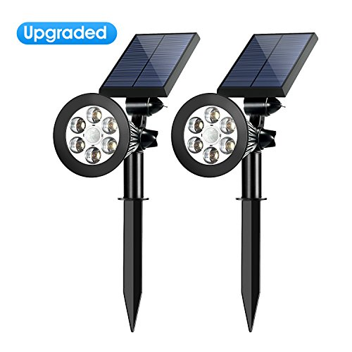 Solar Spotlights Outdoor,Upgraded OPERNEE Motion Sensor Solar Powered Security 6 LED Landscape Light, Auto On/Off Waterproof Wall Tree Light for Patio Porch Path Deck Garden Garage Driveway (2-pack) (Stick Tree With Lights)