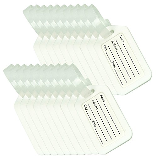 BlueCosto Luggage Tags Suitcase Tag Bag Labels Travel Accessories - White,20 Pack