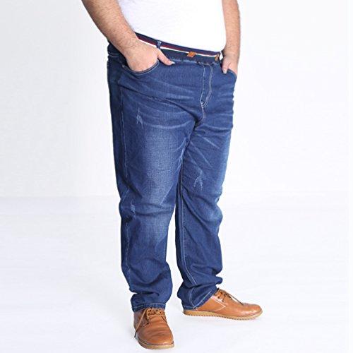 Alta Denim Jeans Tempo Grossa Blu Taglia Uomo Heheja Libero Pantaloni Vita Elasticità qwSfxv