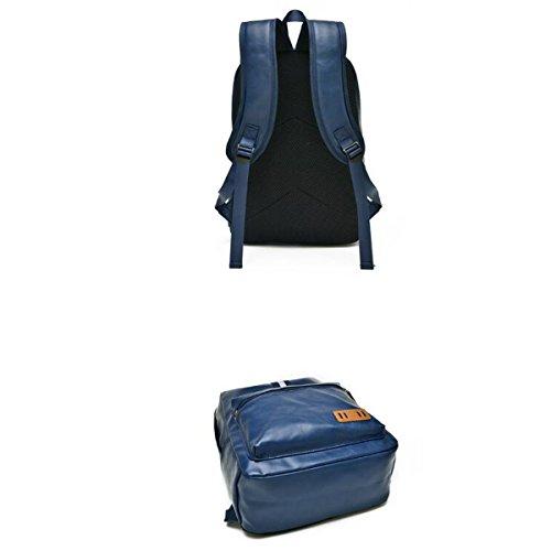 Trend Student Taschen Leder Streifen Freizeit Reisetasche Tragbar Hohe Kapazität Temperament Außen Rucksack,Brown Grey