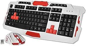 Topiky Juego de ratón de Teclado para Juegos inalámbricos,2.4GHz 10M Transmisión de Altura Ajustable Combo de Mouse de Teclado de Escritorio con 19 Teclas de Acceso Directo Multimedia para PC Po: Amazon.es:
