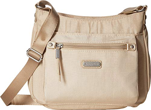 - Baggallini Women's New Classic Uptown Bagg with RFID Phone Wristlet Champagne Shimmer One Size