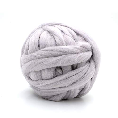 Glaciart One Chunky Merino Wool Yarn for Arm Knitting (3.3 Lbs) Jumbo Super Thick and Soft 100% Natural Lambs Roving Ball for Hand Weaving Giant Knit Stitch Blanket, Big Bulky Throw or Scarf