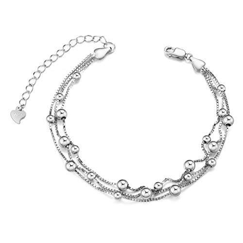 SHEGRACE 925 Sterling Silver Triple Layered Chain Anklets/Bracelet with Tiny Beads for Casual (Style8-bracelet)