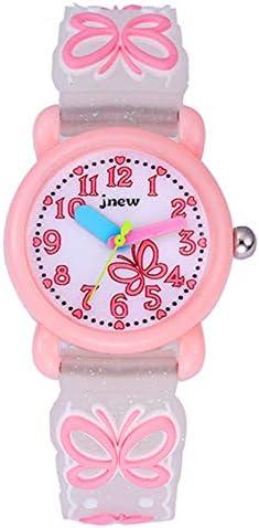 かわいいイラスト入りクォーツ腕時計 3D シリコンバンド付き 時間を教えるのに最適 小さな女の子/男の子/お子様への贈り物に ピンク