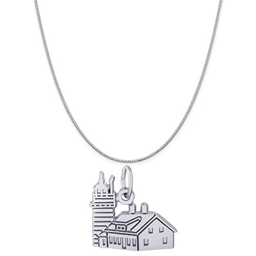 (Rembrandt Charms Sterling Silver Quoddy Head Lighthouse Charm on a Box Chain Necklace, 18