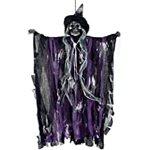 Halloween Horror Props Decor Porch Tree Decoration Animated Hanging Electric Skull Skeleton Ghost Witch Dolls Voice Flashing Eyes Creepy Novelty Halloween Theme Party Haunted House KTV Bar Decorations