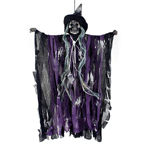(Bartz Ghost Halloween Decorations, Animated Hanging Grim Reaper With Voice Activated Scary and Flashing Eyes Creepy for Halloween Party Haunted House KTV Bar)