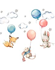 Little Deco muurtattoo babykamer haas vos en muis I muurschildering I luchtballonnen sterren kinderfoto's jongen kinderkamer meisje sticker DL312
