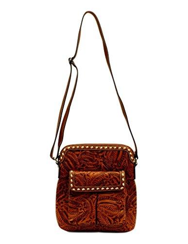 Blazin Roxx Women's Nora Floral Embossed Messenger Bag, Tan, OS -