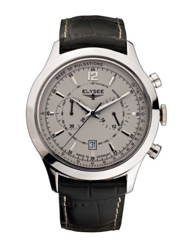 Elysee Men's Quartz Watch with Grey Dial Analogue Display and Black Leather Strap 18004