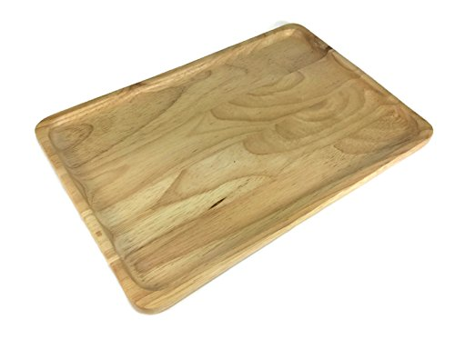 Food Tray Wooden Utensil Natural Rubber Handcraft Serving 8 x 12 Inch