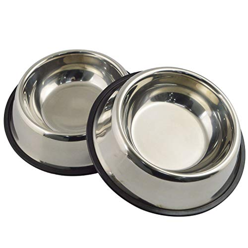 Mlife Stainless Steel Dog Bowl with Rubber Base for Small/Medium/Large Dogs, Pets Feeder Bowl and Water Bowl Perfect Choice (Set of 2) ()
