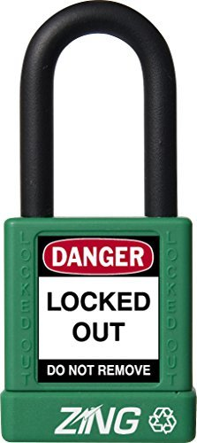 ZING 7034 RecycLock Safety Padlock, Keyed Different, 1-1/2 Shackle, 1-3/4 Body, Green by Zing Green Products