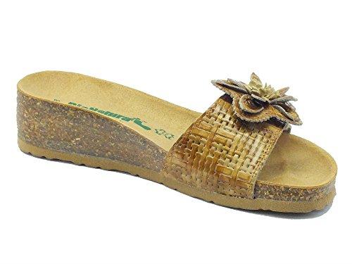 Bionatura 12 Ambra Nabuk Stuoia Natural - Sandalias de vestir de Piel para mujer cuero