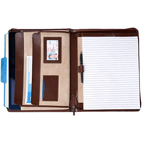(Alpine Swiss Genuine Leather Writing Pad Portfolio Business Case for Left & Right Handed Use with Tablet Sleeve Oak Wood)