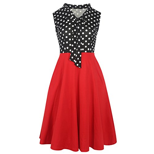 KUFEIUP Keyhole Bow Tie Front Polka Dot 1940s Vintage Cocktail Dresses for Women Red L (1940s Bow)