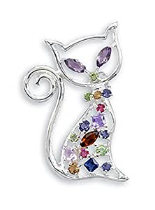 CleverEve Designer Series Proud Kitty Cat Pin Pendant 26 x 40mm w/ Multi Color Swarovski Crystals